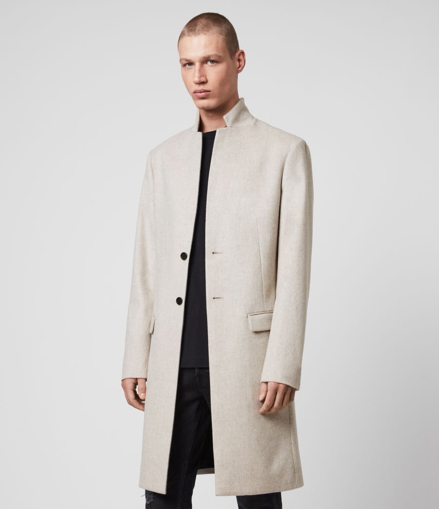 Mens Birdstow Wool Coat (oatmeal) - Image 4