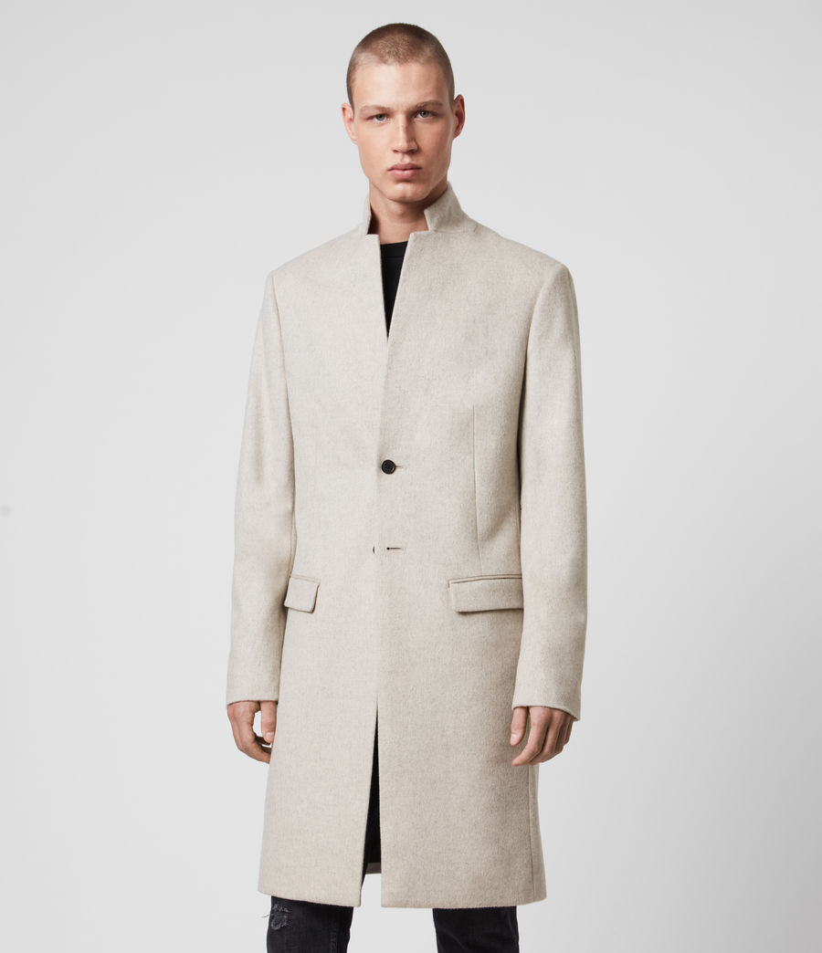 Mens Birdstow Wool Coat (oatmeal) - Image 6