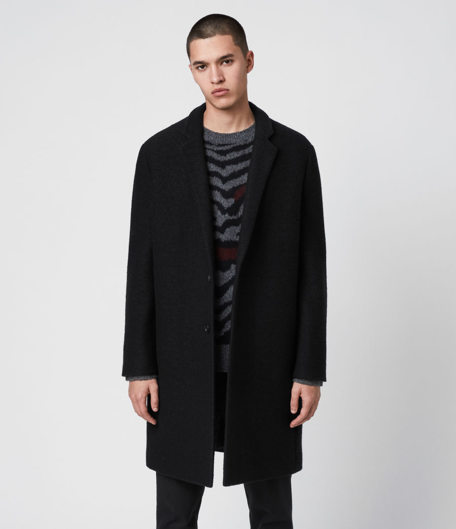 Men's Grafton Wool Coat (black) - Image 2
