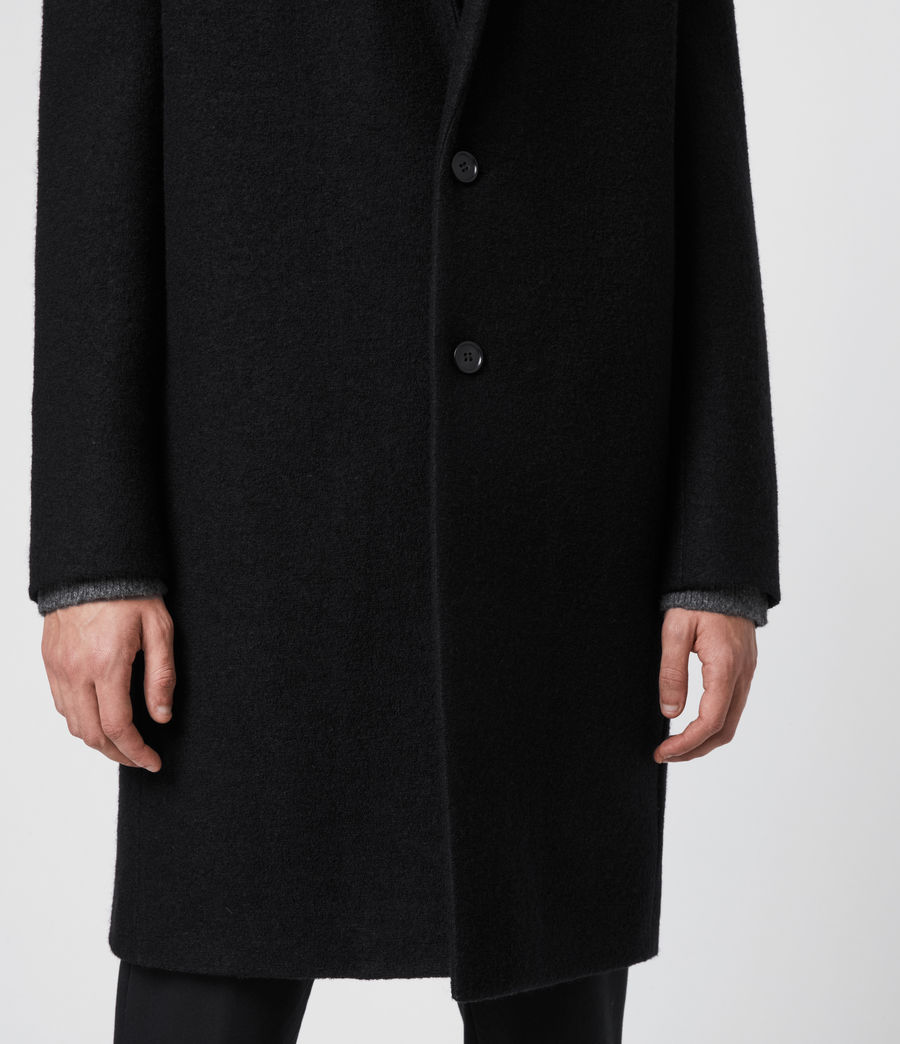 Mens Grafton Wool Coat (black) - Image 4