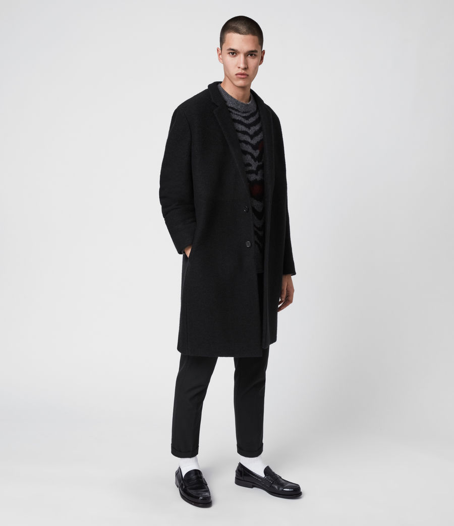 Men's Grafton Wool Coat (black) - Image 4