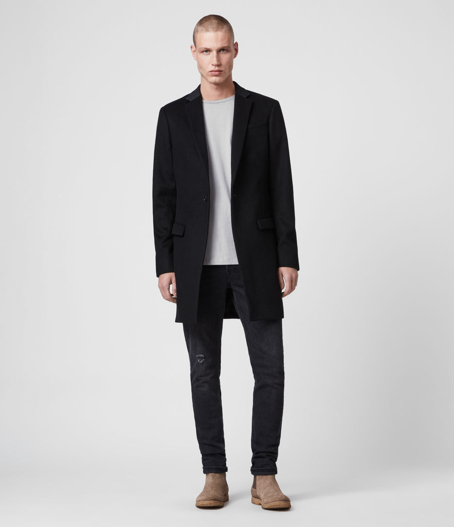 Mens Standen Wool Coat (black) - Image 1