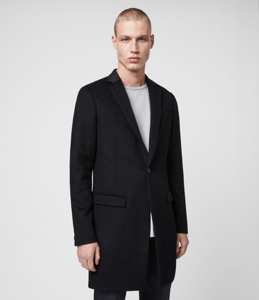 Mens Standen Wool Coat (black) - Image 3