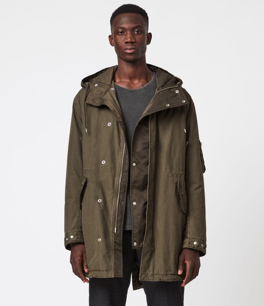 Mens Flax Parka Coat (dull_khaki_green) - Image 4