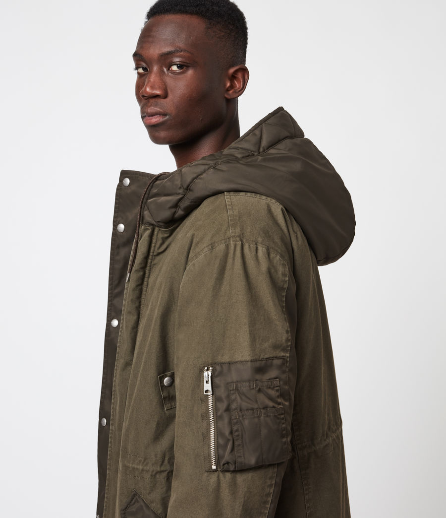 Mens Flax Parka Coat (dull_khaki_green) - Image 5