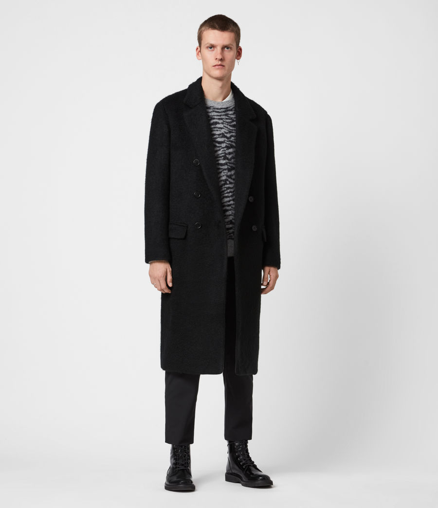 Mens Campo Wool Blend Coat (black) - Image 7