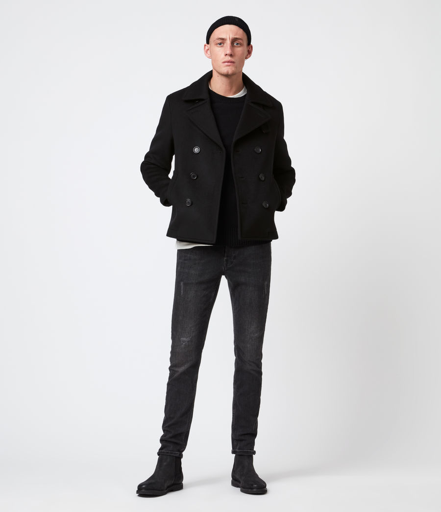 Mens Juncal Melton Wool Blend Peacoat (black) - Image 4