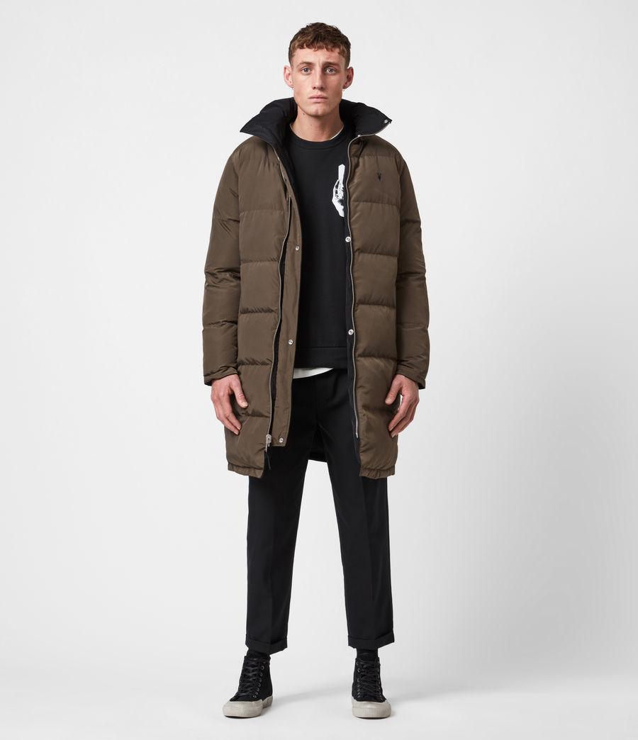 Mens Novelon Reversible Puffer Coat (black_khaki) - Image 1