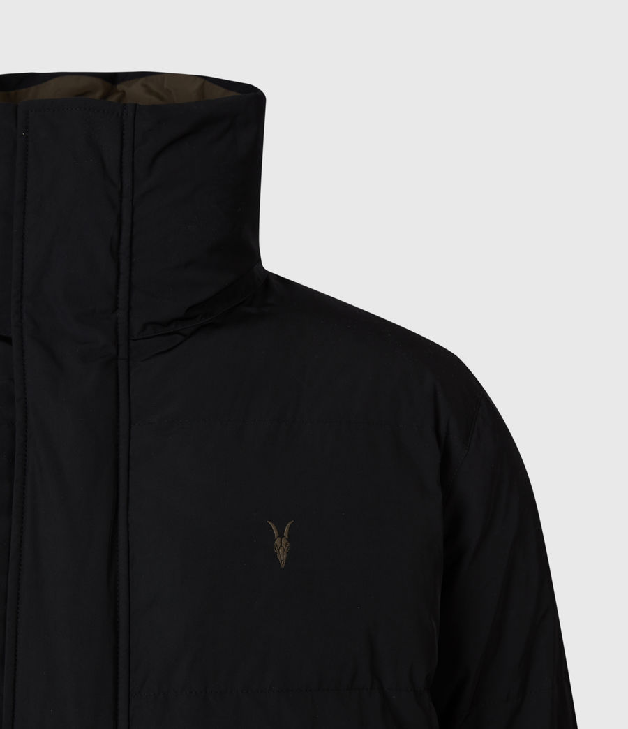 Mens Novelon Reversible Puffer Coat (black_khaki) - Image 6