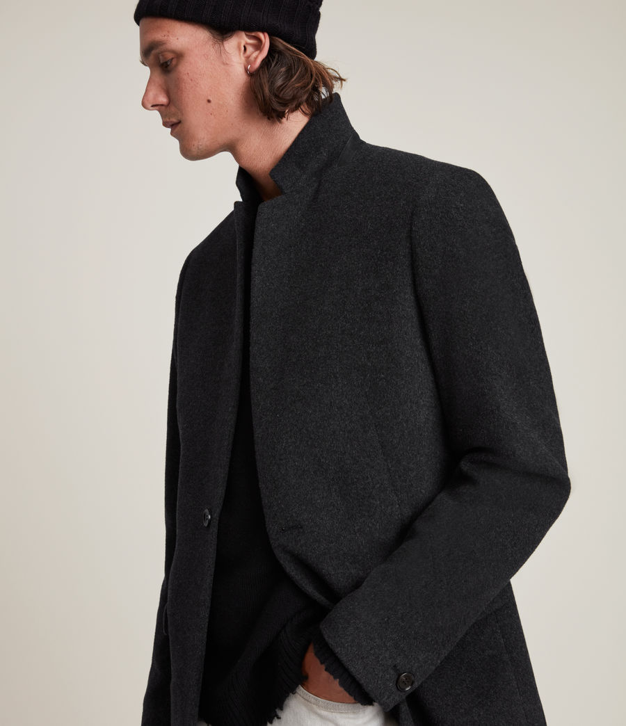 Mens Manor Wool Coat (charcoal_grey) - Image 2