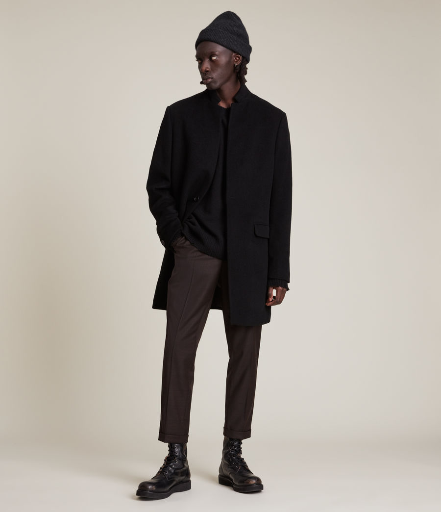 Mens Manor Wool Coat (black) - Image 1