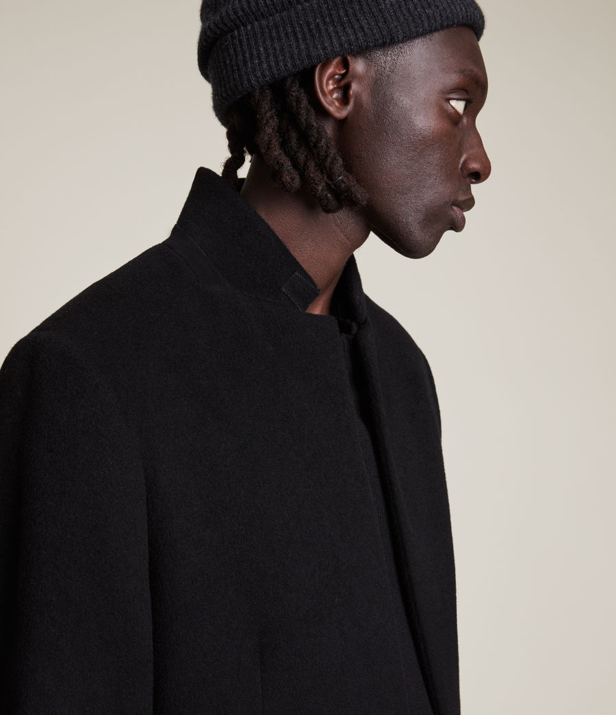 Men's Manor Wool Coat (black) - Image 2