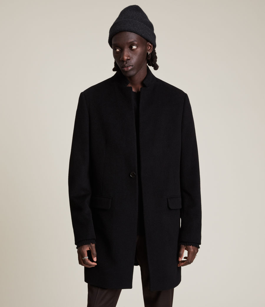 Men's Manor Wool Coat (black) - Image 3