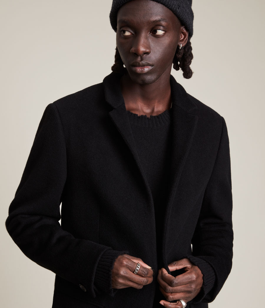 Men's Manor Wool Coat (black) - Image 4