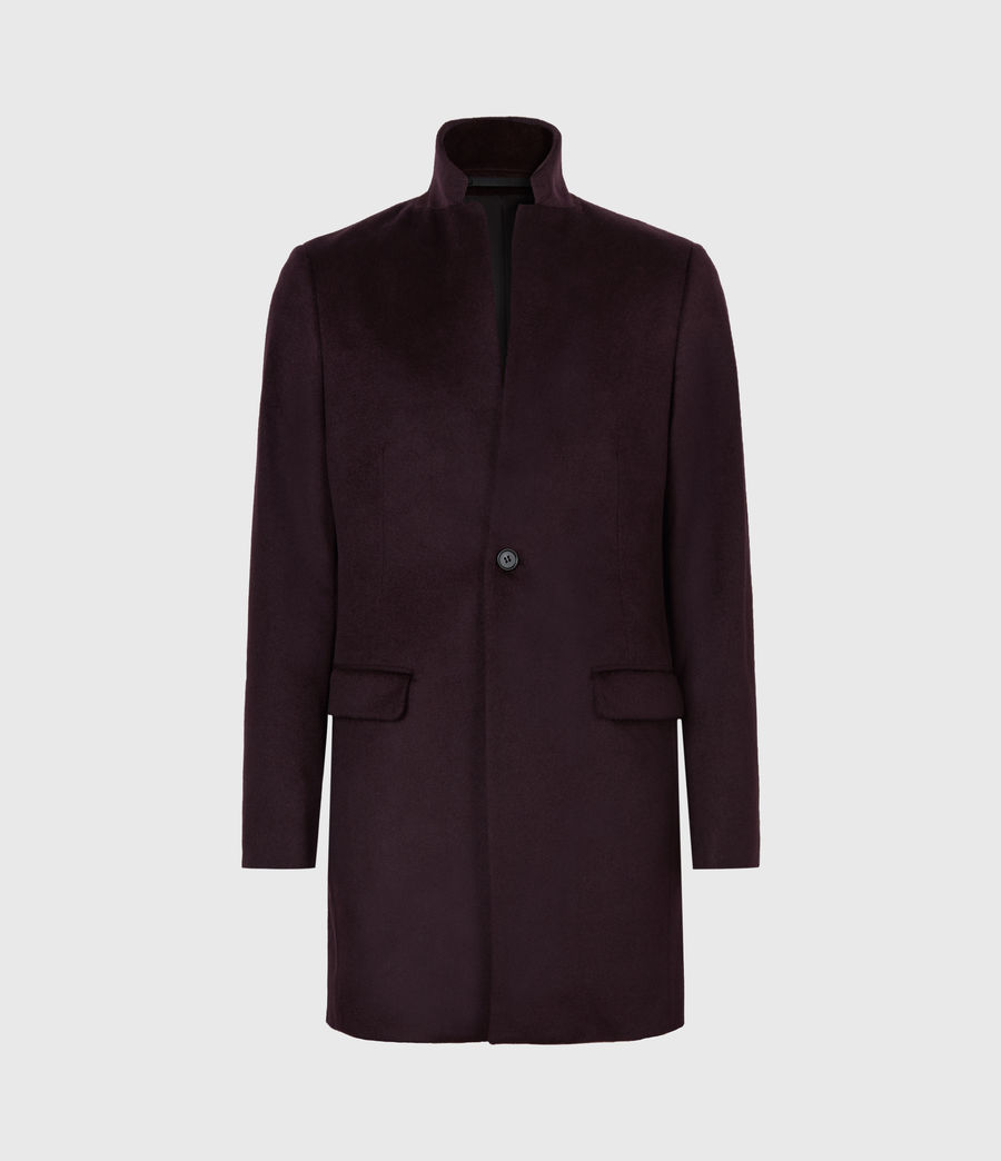 Men's Manor Wool Coat (dark_garnet) - Image 2