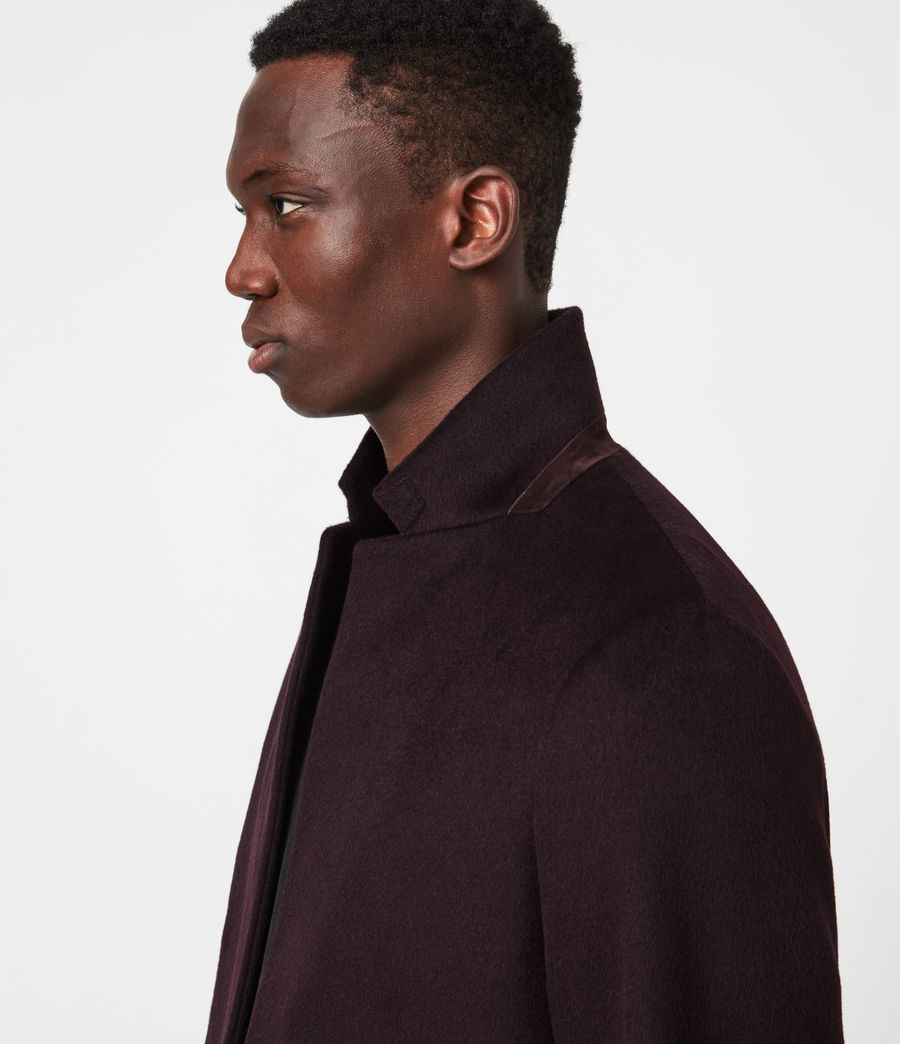 Mens Manor Wool Coat (dark_garnet) - Image 4