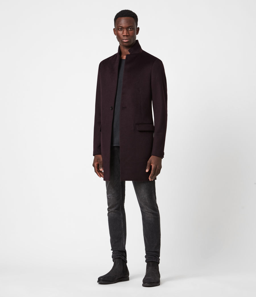 Men's Manor Wool Coat (dark_garnet) - Image 6