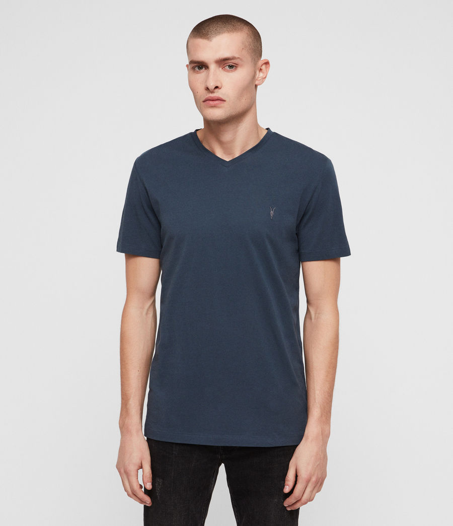 Hommes T-Shirt Tonic Col V (pacific_blue) - Image 1