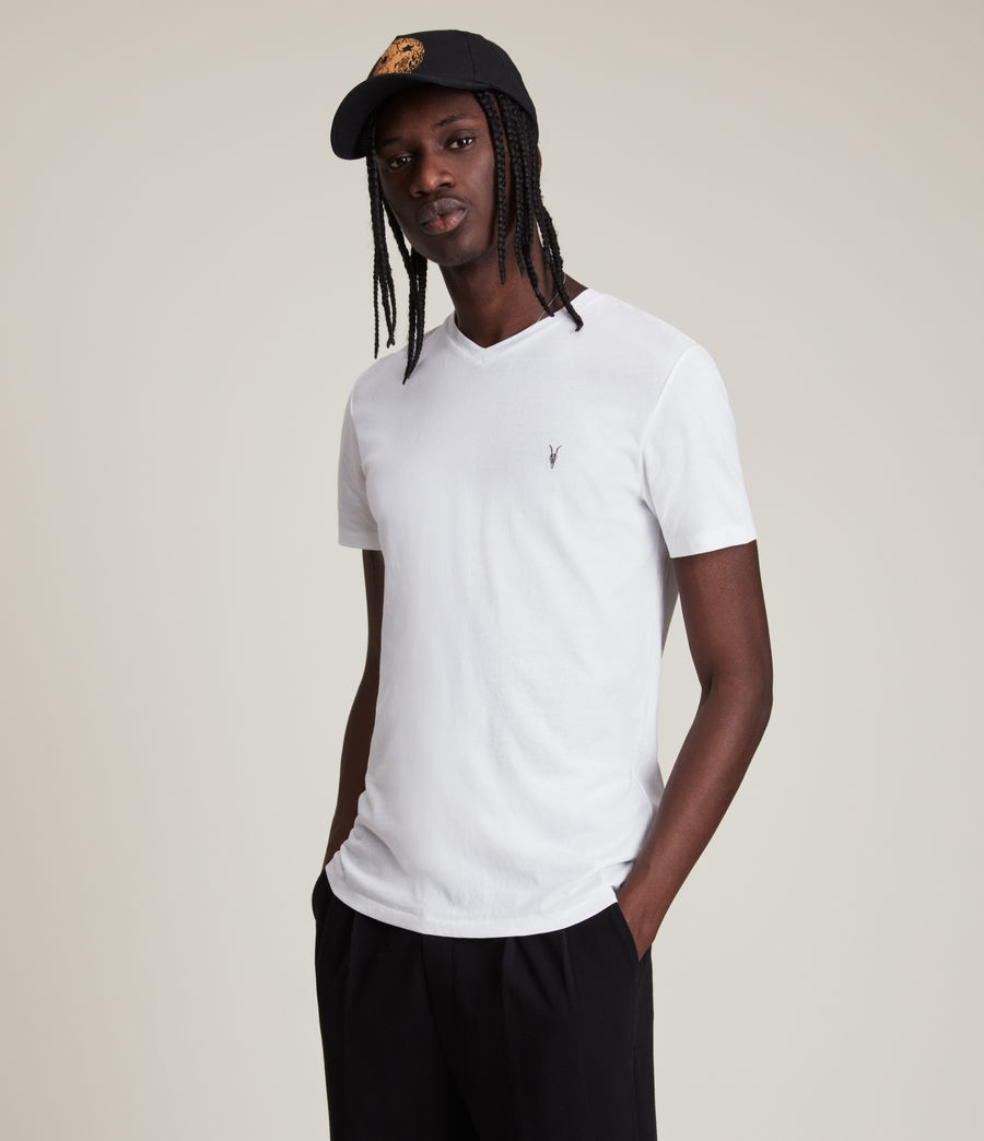 Uomo T-shirt Tonic - Slim in cotone con scollo a V (optic_white) - Image 1
