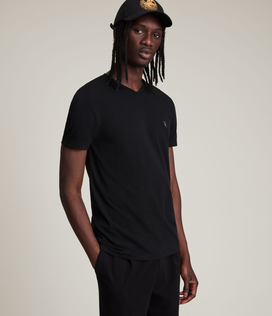 Uomo T-shirt Tonic - Slim in cotone con scollo a V (jet_black) - Image 1