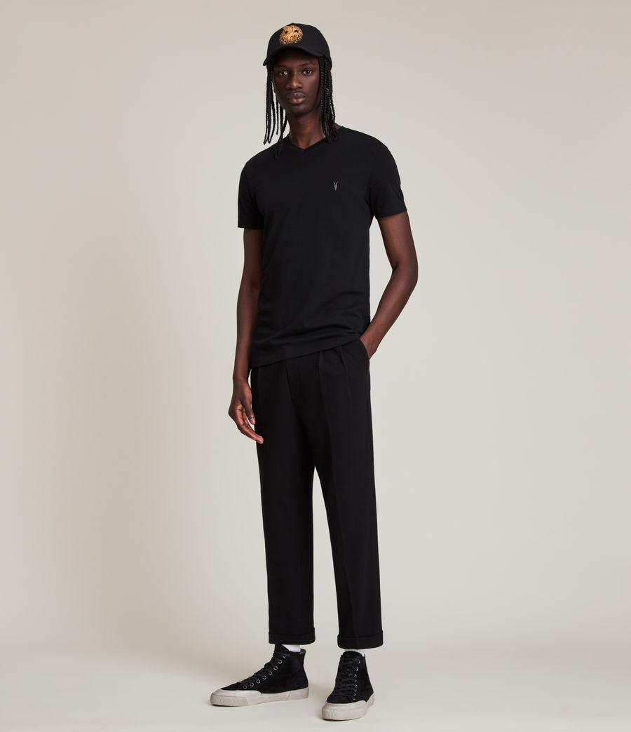 Uomo T-shirt Tonic - Slim in cotone con scollo a V (jet_black) - Image 2