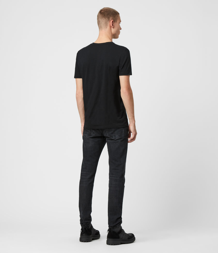 Uomo T-shirt Tonic - Slim in cotone con scollo a V (jet_black) - Image 5