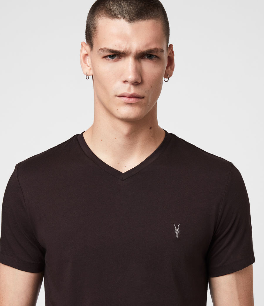 Hommes T-Shirt Manches Courtes & Col V Tonic (mahogany_red) - Image 2