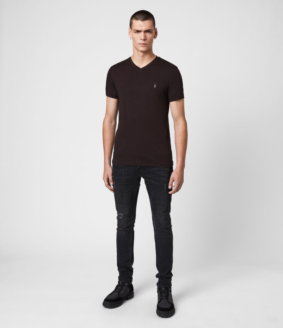 Hommes T-Shirt Manches Courtes & Col V Tonic (mahogany_red) - Image 3