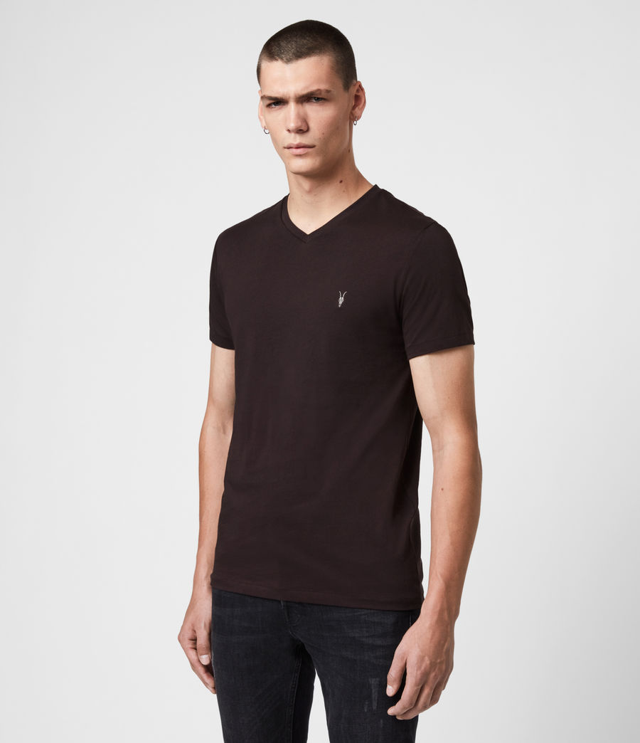Hommes T-Shirt Manches Courtes & Col V Tonic (mahogany_red) - Image 4