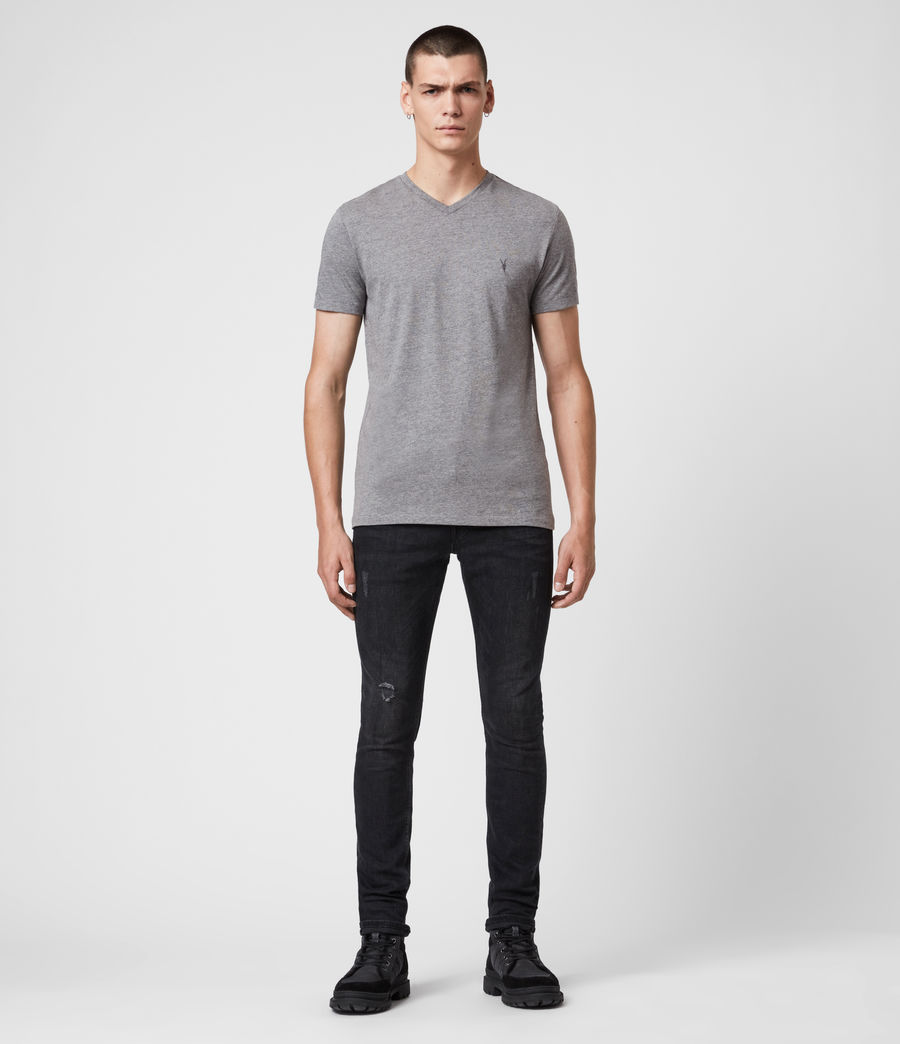 Mens Tonic V-neck T-Shirt (soot_grey_marl) - Image 3