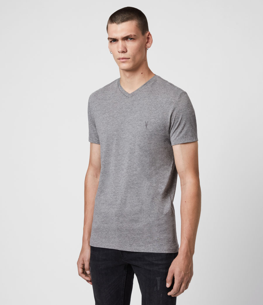 Men's Tonic V-neck T-Shirt (soot_grey_marl) - Image 4