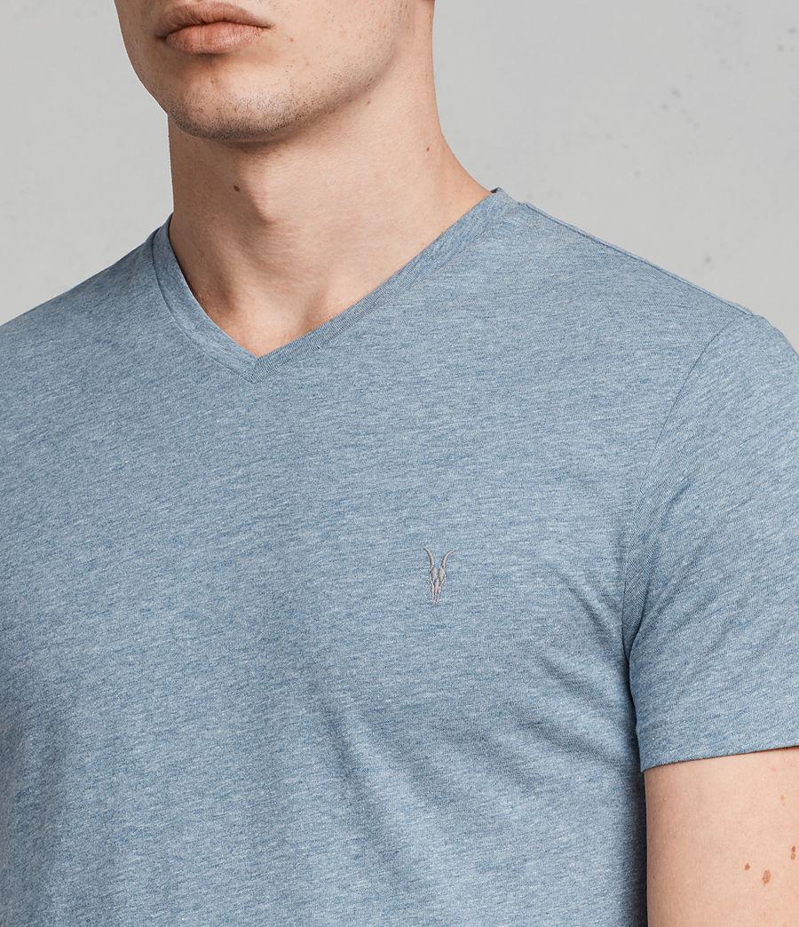 Uomo T-shirt Tonic V-neck (aqua_blue_marl) - Image 2