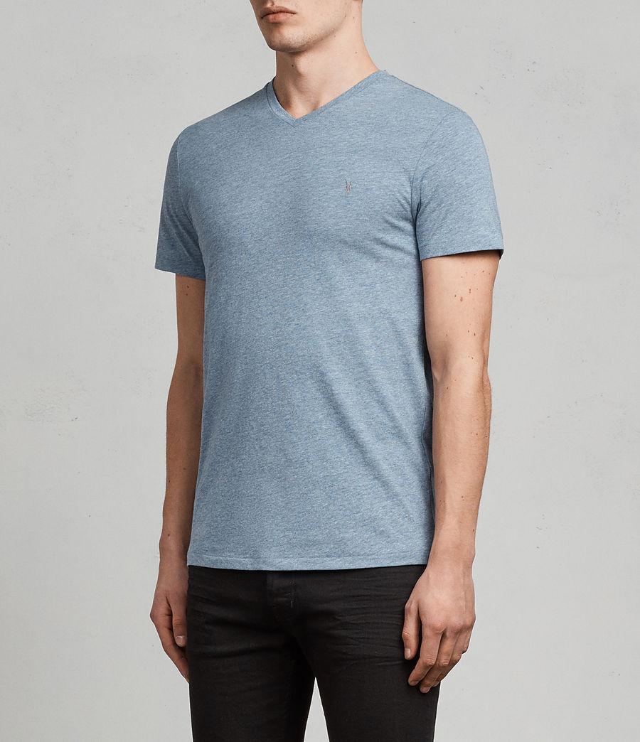 Uomo T-shirt Tonic V-neck (aqua_blue_marl) - Image 3