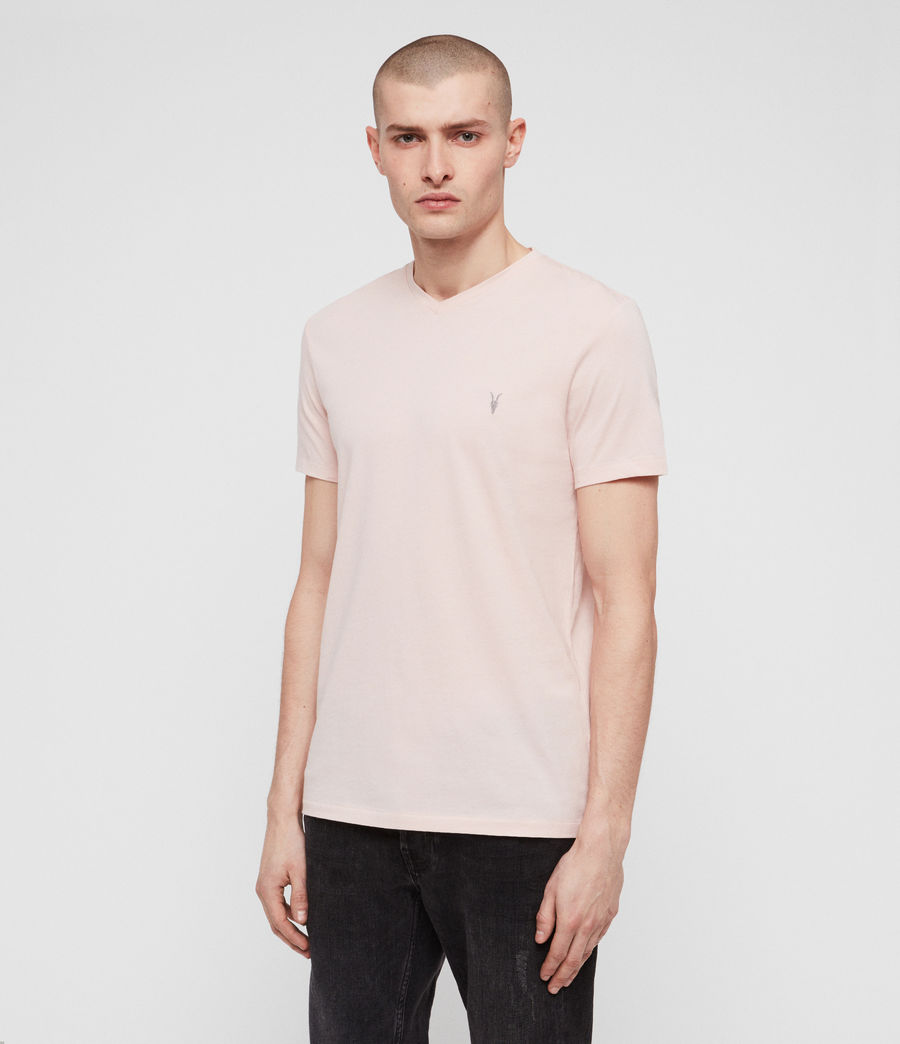 Herren Tonic V-Neck T-Shirt (bleach_pink) - Image 4