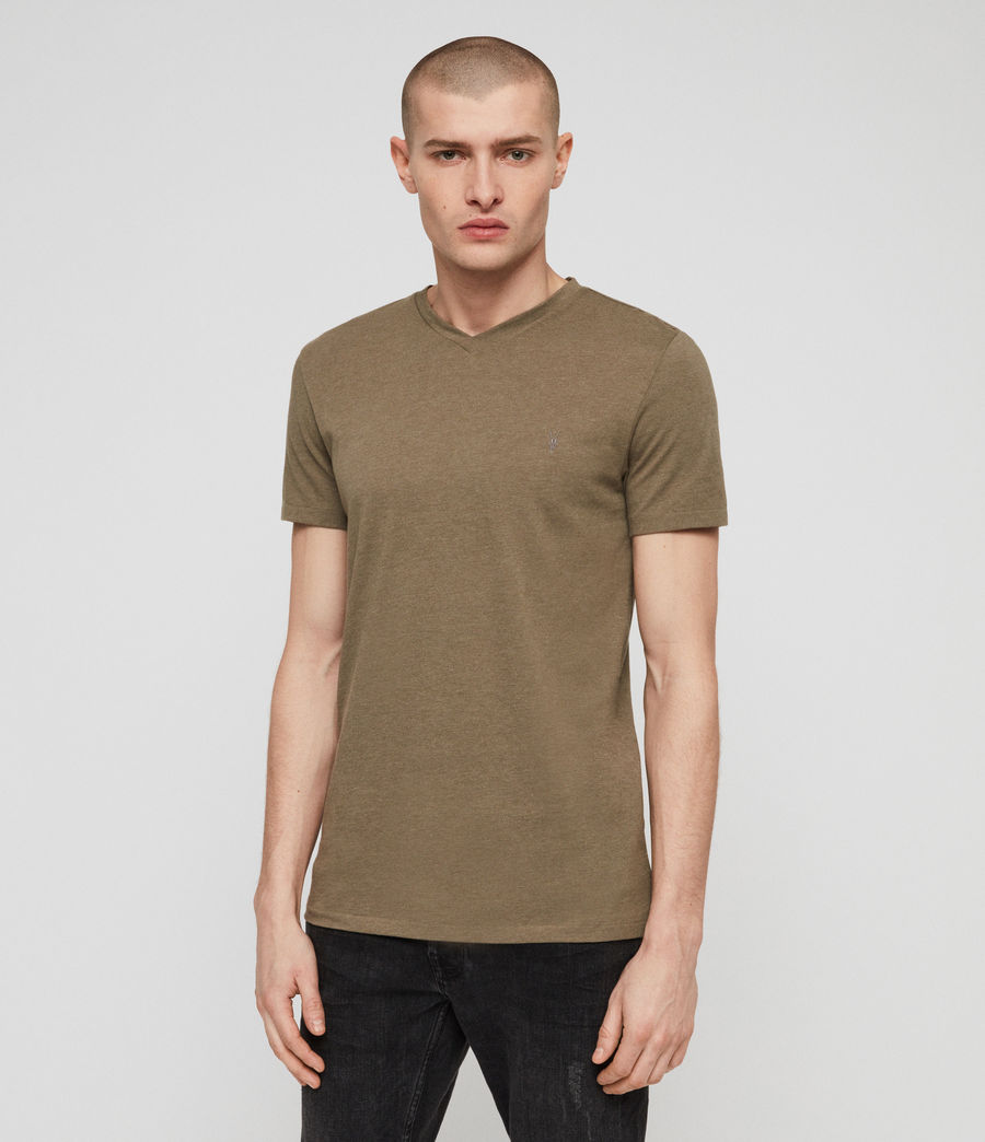 Men's Tonic V-neck T-Shirt (bark_green_marl) - Image 1