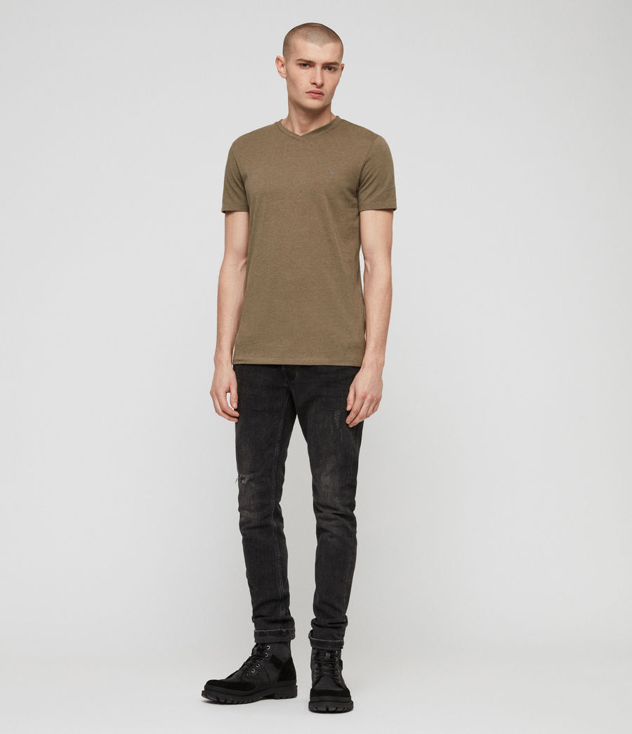 Mens Tonic V-Neck T-Shirt (bark_green_marl) - Image 3