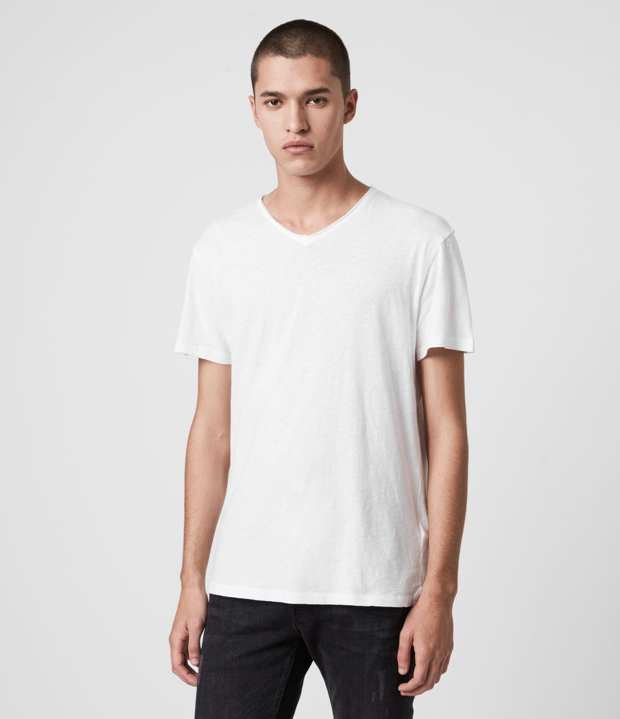 Hommes T-Shirt Figure Col V (optic_white) - Image 4