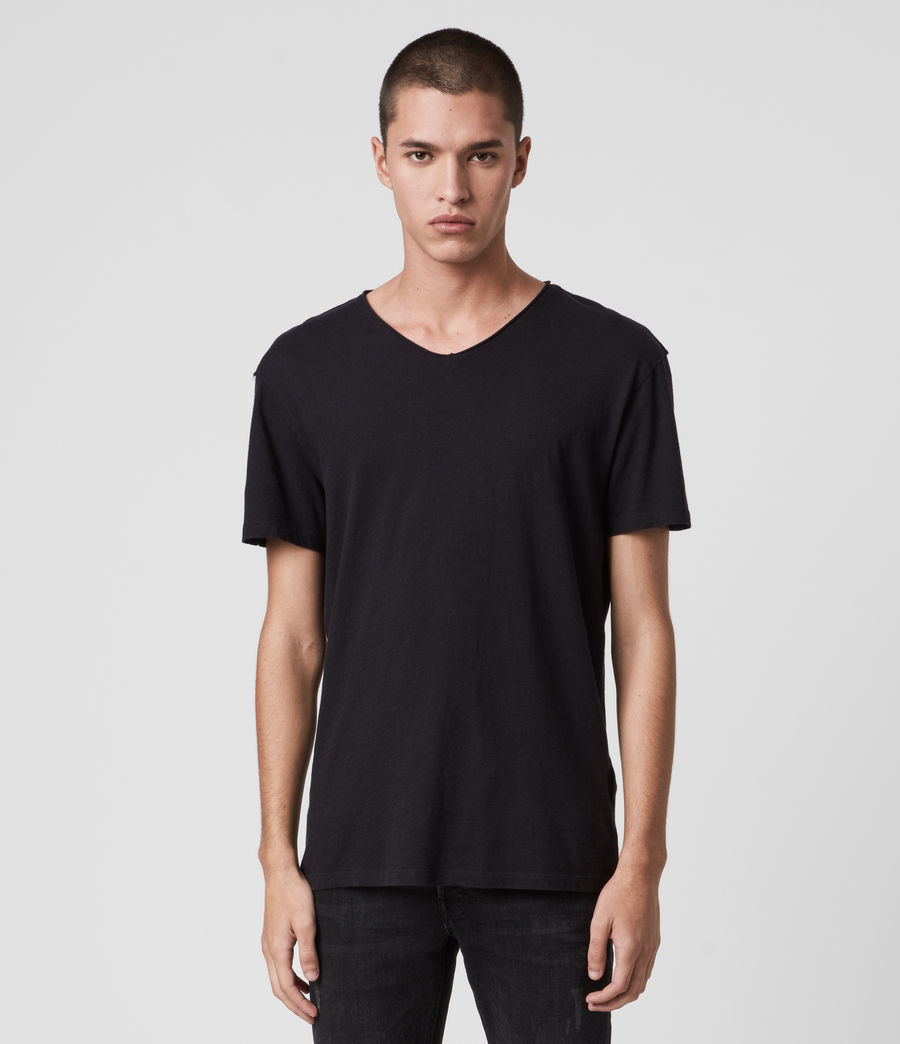 Mens Figure V-Neck T-Shirt (jet_black) - Image 1