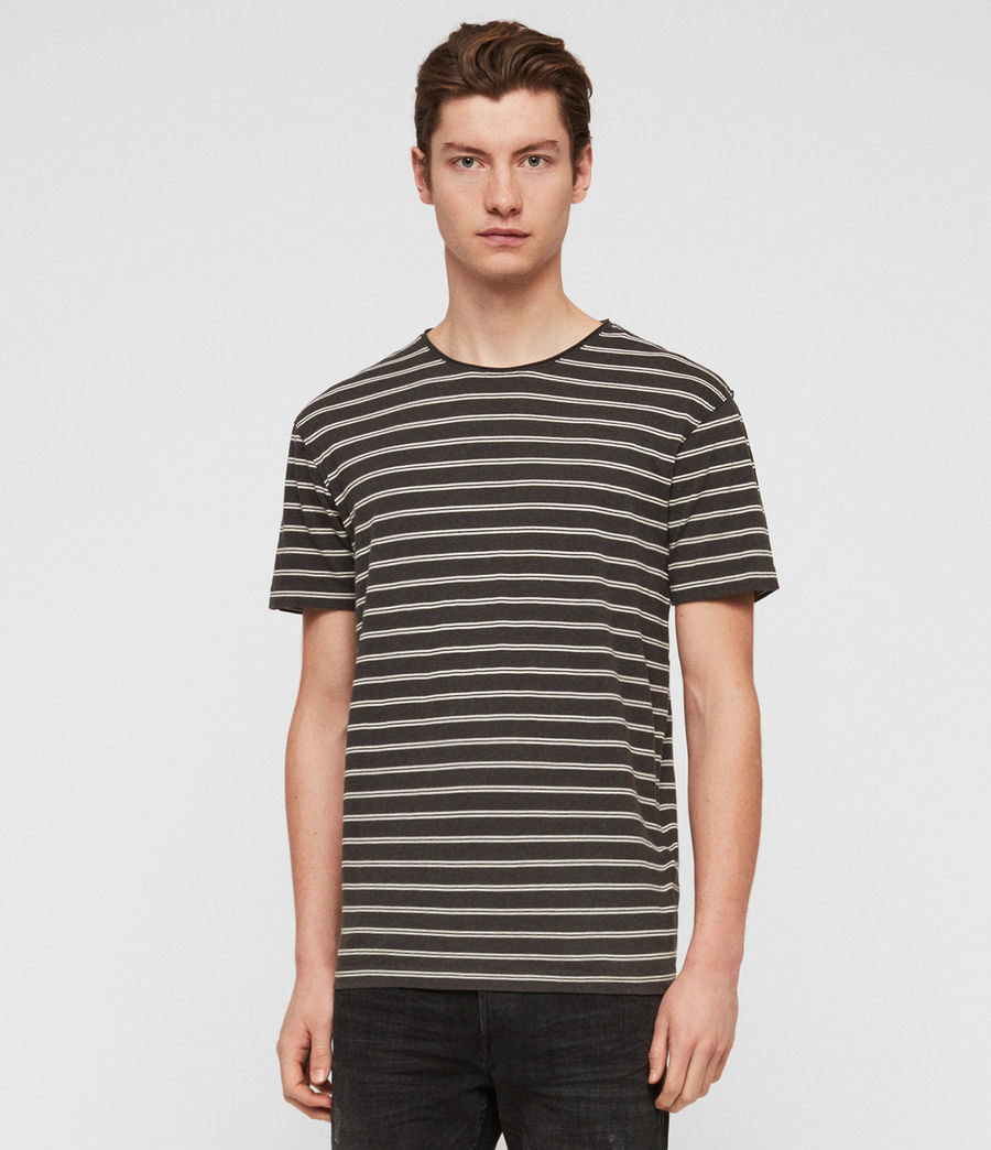 Hombres Camiseta Figure Stripe (washed_blk_chalk) - Image 1