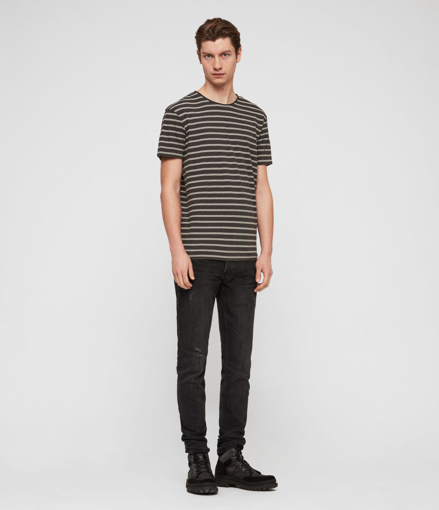 Hombres Camiseta Figure Stripe (washed_blk_chalk) - Image 3