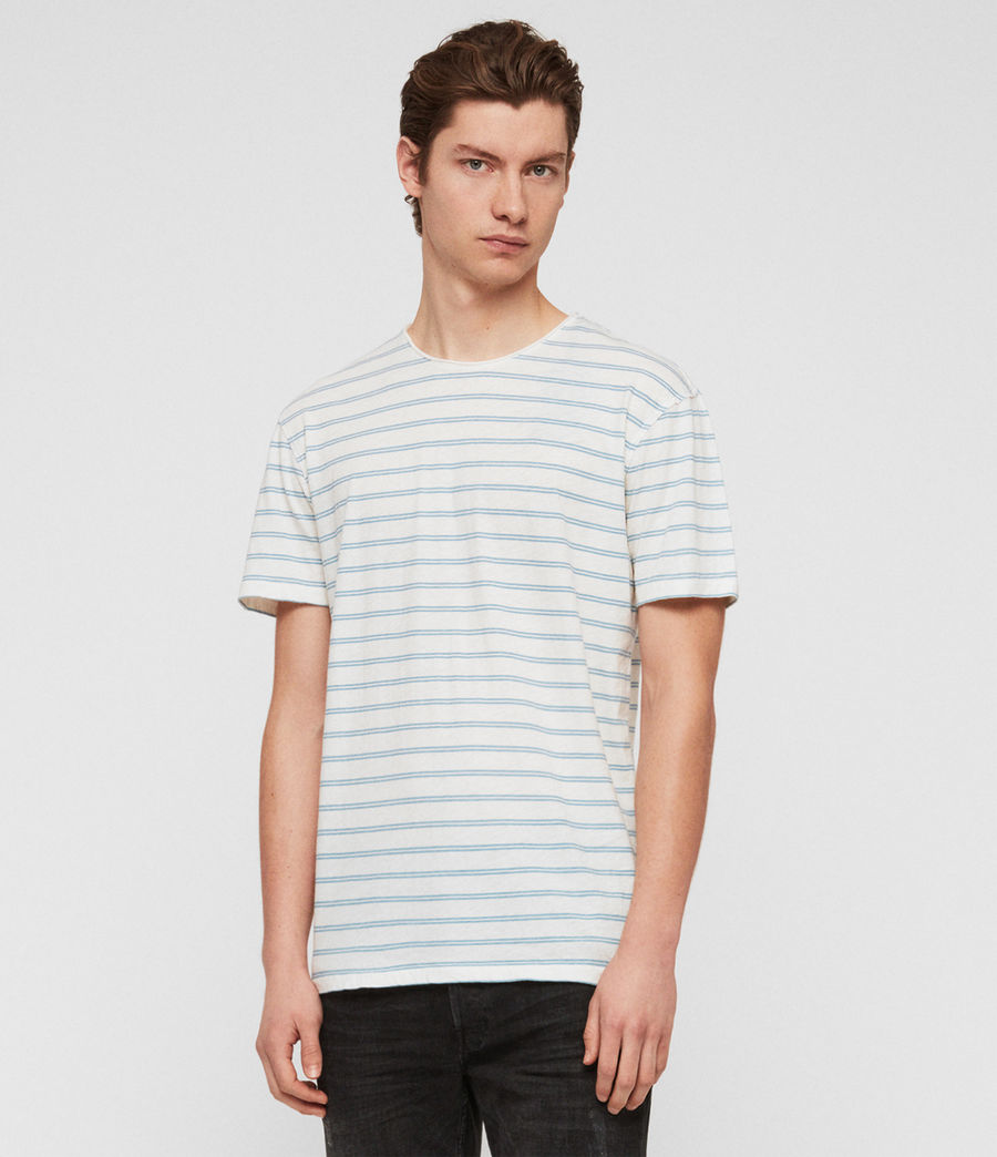 Men's Figure Stripe Crew T-Shirt (chalk_white_arbour) - Image 1