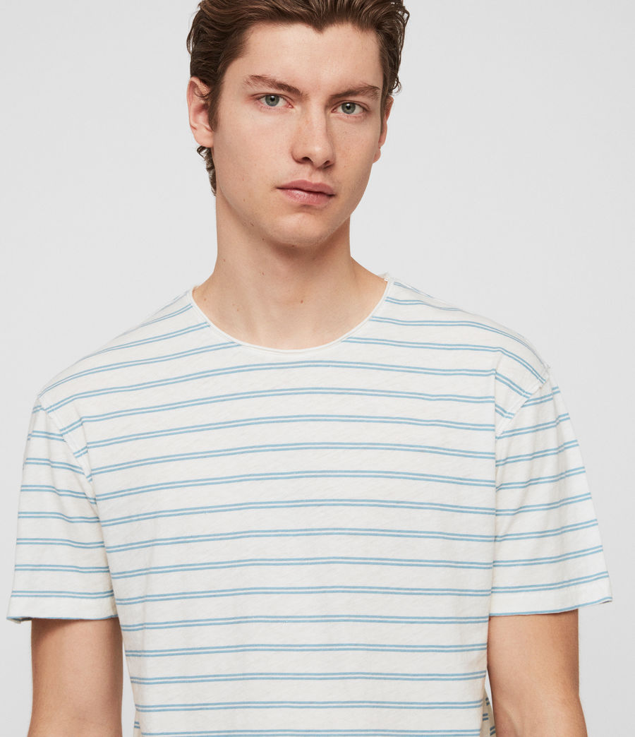 Men's Figure Stripe Crew T-Shirt (chalk_white_arbour) - Image 2