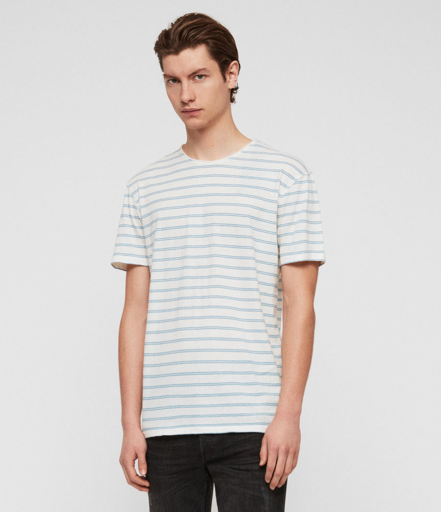 Men's Figure Stripe Crew T-Shirt (chalk_white_arbour) - Image 3