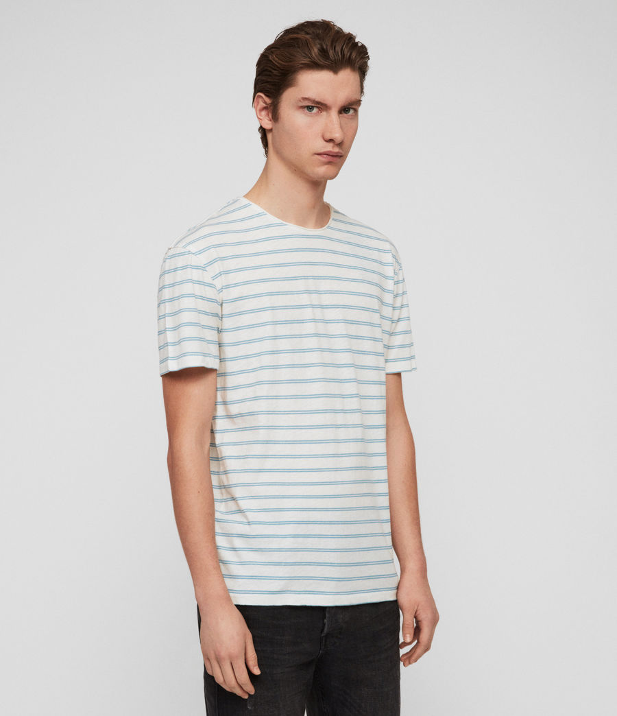 Men's Figure Stripe Crew T-Shirt (chalk_white_arbour) - Image 4