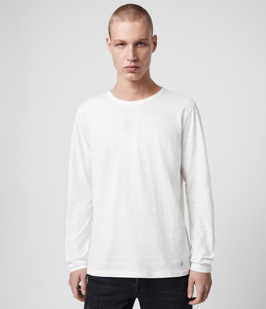 Mens Aldwin Long Sleeve Crew T-Shirt (chalk_white) - Image 1