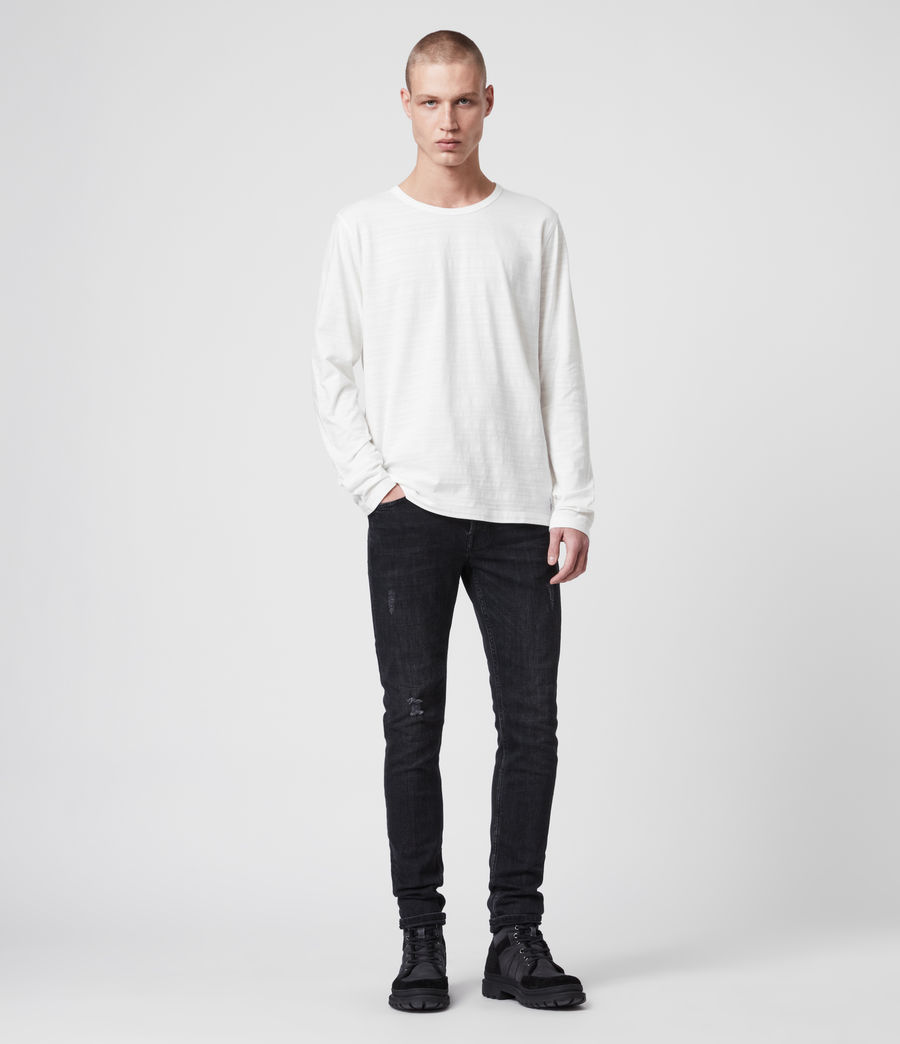 Mens Aldwin Long Sleeve Crew T-Shirt (chalk_white) - Image 3