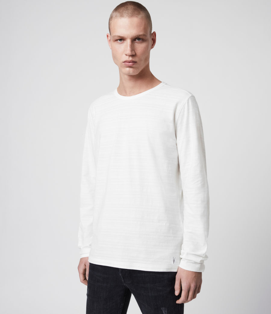 Hombre Aldwin Long Sleeve Crew T-Shirt (chalk_white) - Image 4