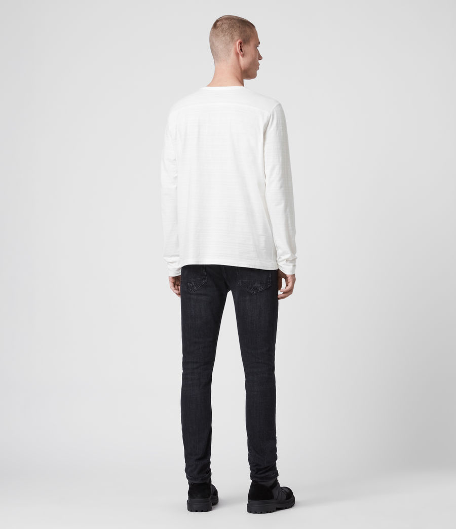 Mens Aldwin Long Sleeve Crew T-Shirt (chalk_white) - Image 5