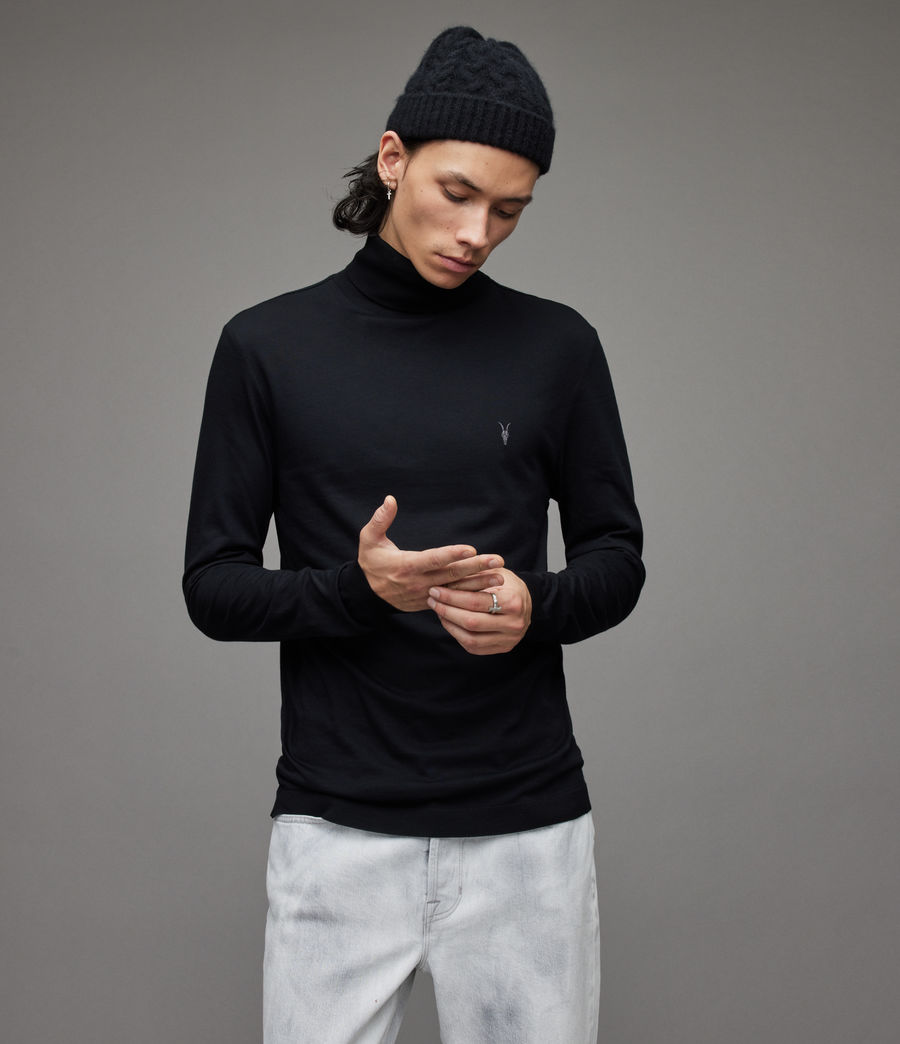 Men's Parlour Roll Neck Top (black) - Image 2