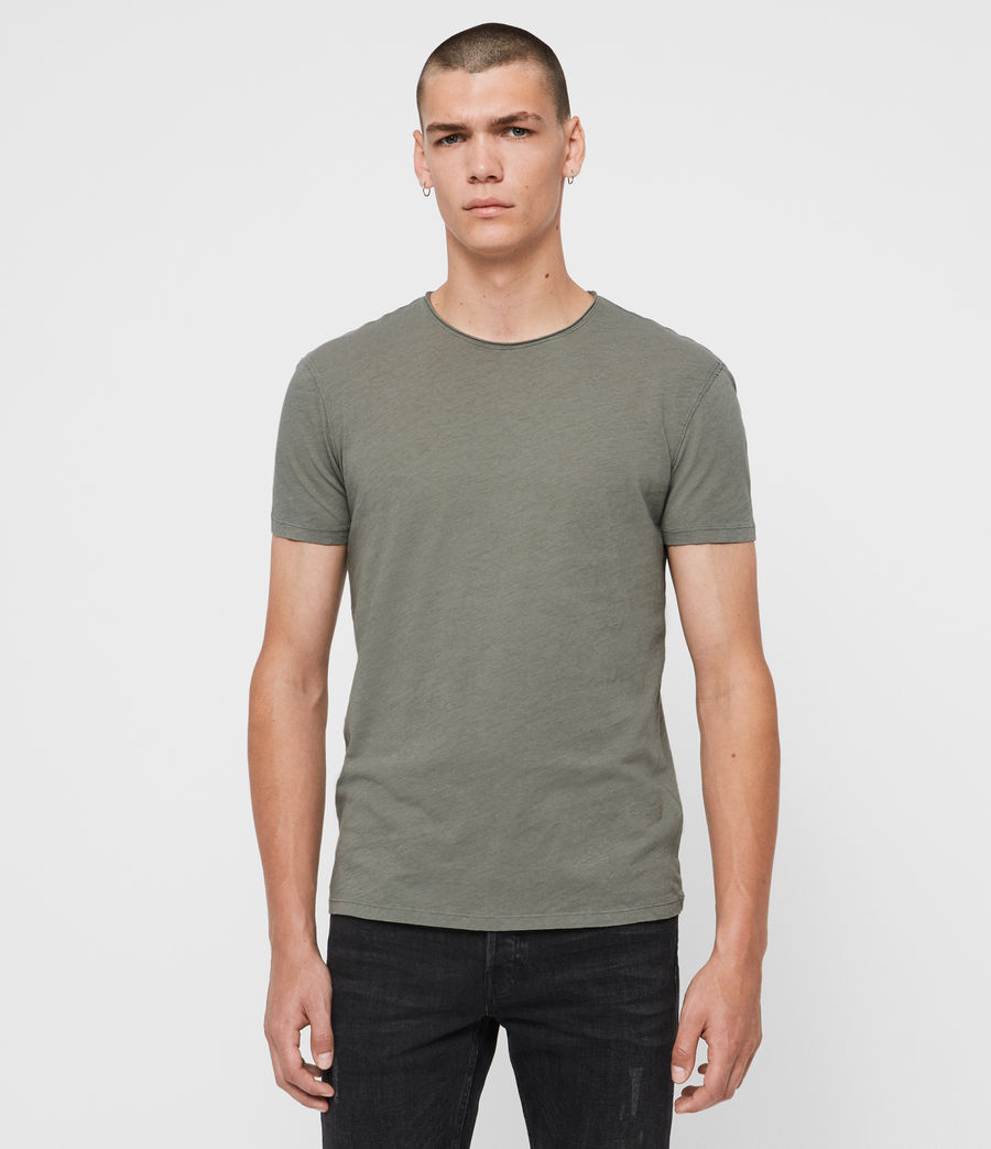 Uomo T-shirt Figure - In cotone con cuciture in rilievo (willow_green) - Image 1